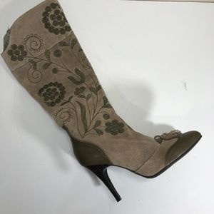 Sam Edelman Suede Embroidered Knee High Boots 9.5